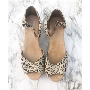 Toms Leopard Print Cork Wedge Sandals